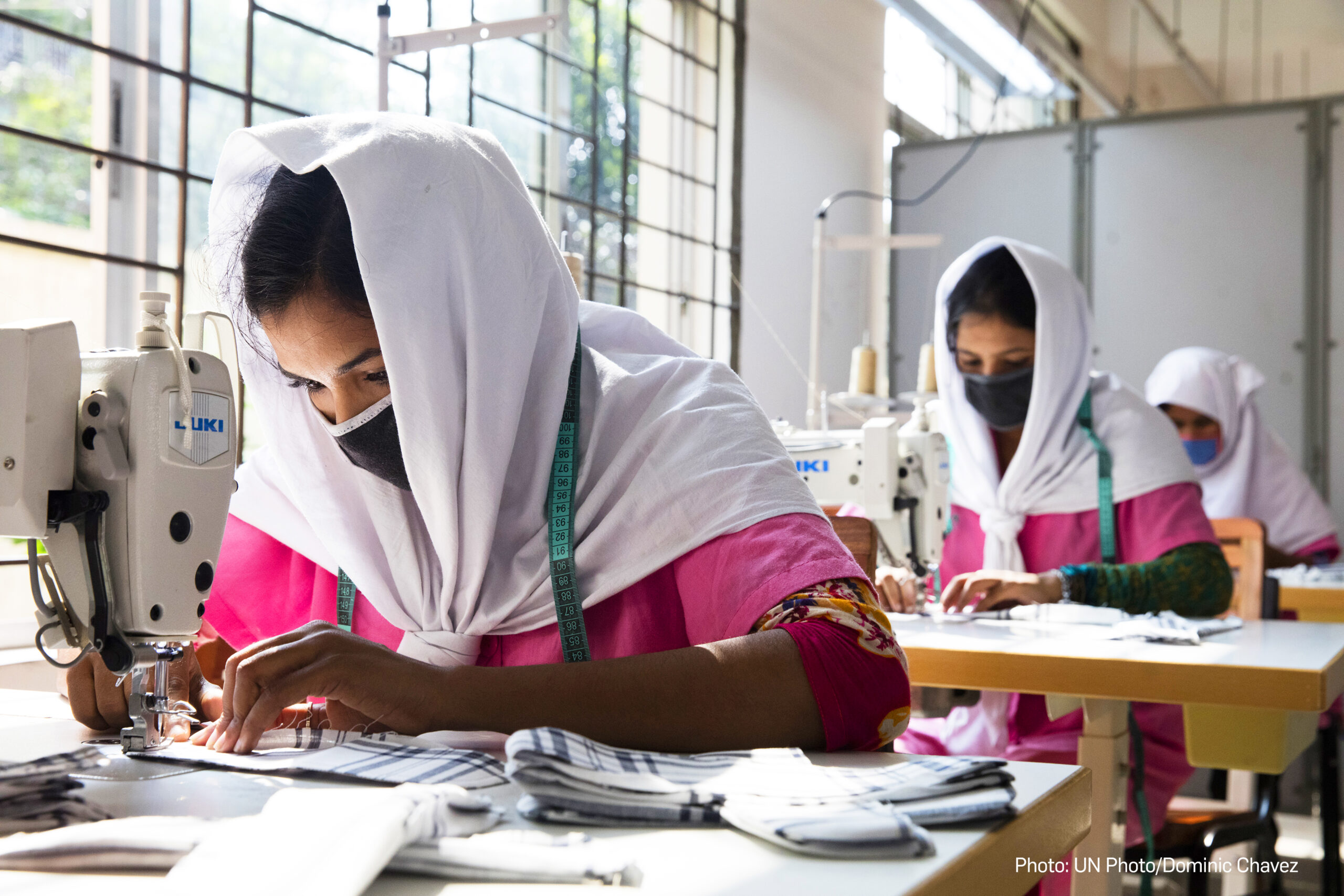 Young Bangladeshi women being trained at the Savar Export Processing Zone training center in Dhaka, Bangladesh on October 13, 2016. Photo © Dominic Chavez/World Bank